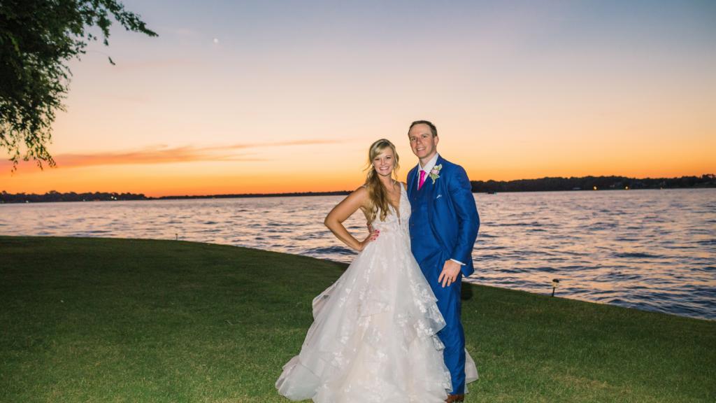 Bridal Couple on the Lake